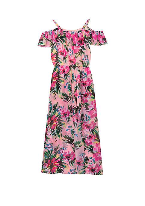 Girls 7-16 Blush Tropical Print Maxi