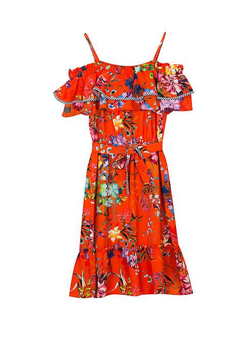 Girls 7-16 Orange Señorita Floral Dress