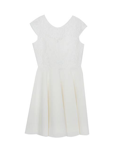 Girls 7-16 Cap Sleeve Ivory Lace Skater Dress