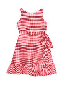 Rare Editions Girls 7-16 Red Gingham Ruffle Hem Dress