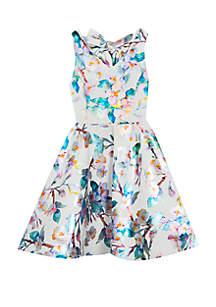 Rare Editions Girls 7-16 Foil Floral Skater Dress