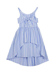 Rare Editions Girls 7-16 Tie Front Blue White Stripe Dress