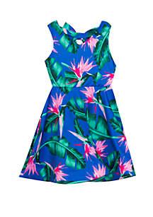 Rare Editions Girls 7-16 Palm Print Skater Dress
