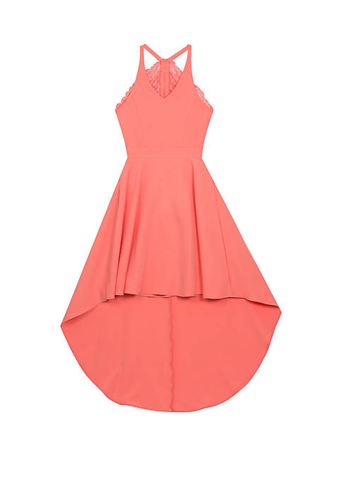 Girls 7-16 Neon Coral Lace Back High Low Dress