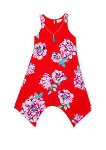 Rare Editions Girls 7-16 Red Floral Yummy Hanky Hem Dress