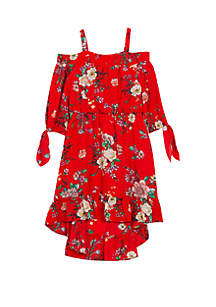 Rare Editions Girls 7-16 Red Floral Off the Shoulder Dress