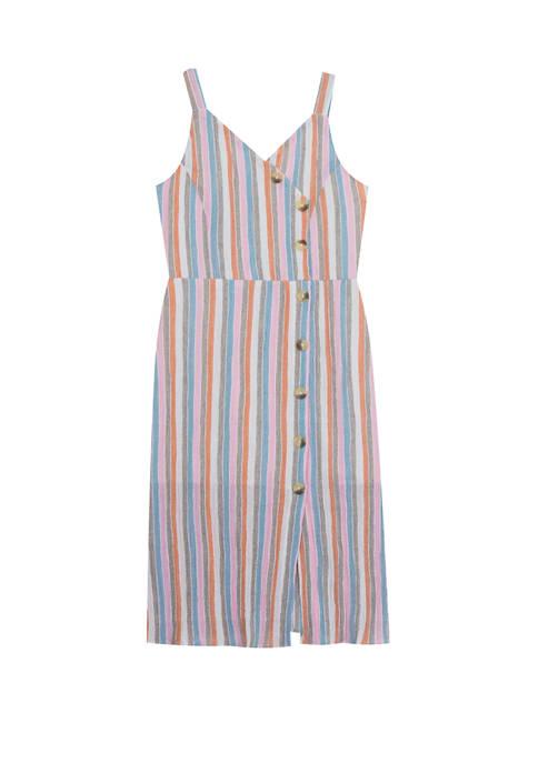 Rare Editions Girls 7-16 Side Button Midi Dress