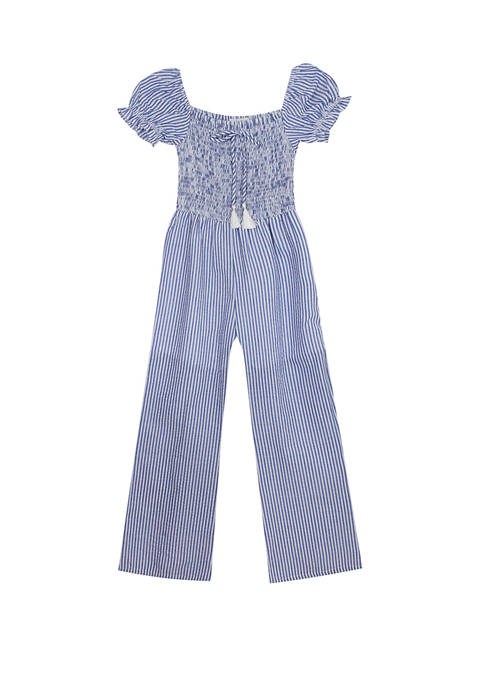 Rare Editions Girls 7-16 Smocked Stripe Jumpsuit