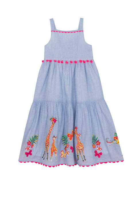 Rare Editions Girls 7-16 Blue Cotton Maxi Dress