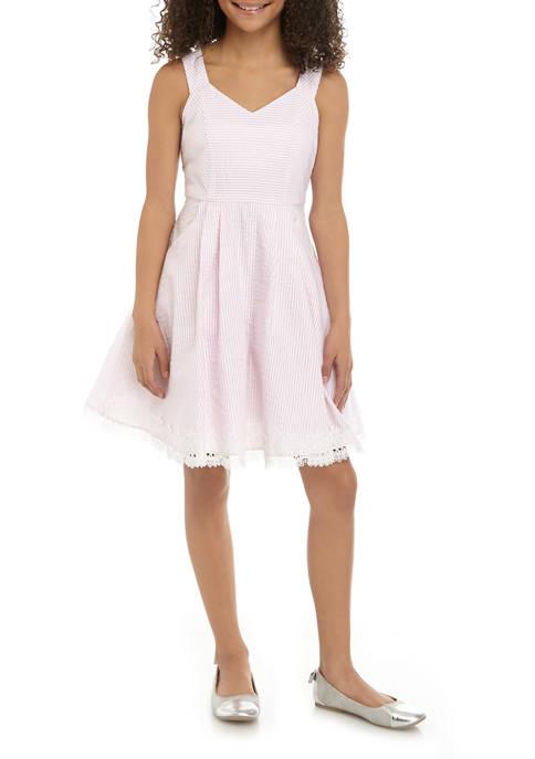 Rare Editions Girls 7-16 Seersucker Bow Back Dress