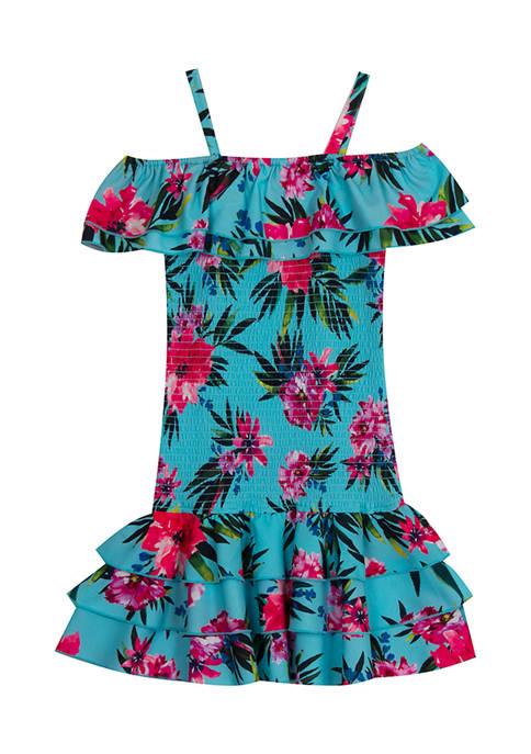Girls 7-16 Tropical Print Smocked  Dress