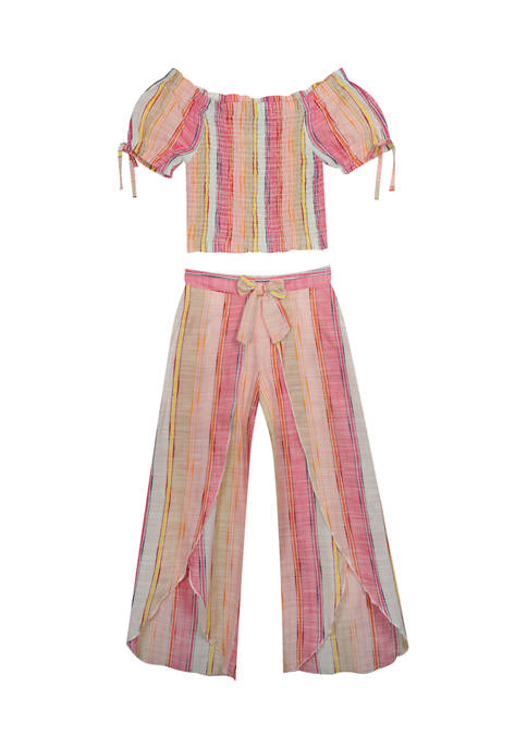 Counting Daisies Girls 7-16 Yarn Dyed Stripe Puff