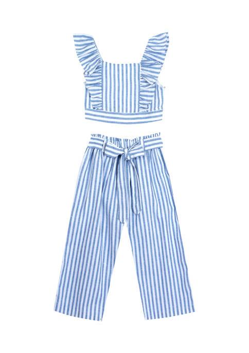 Counting Daisies Girls 7-16 2 Piece Stripe Ruffle