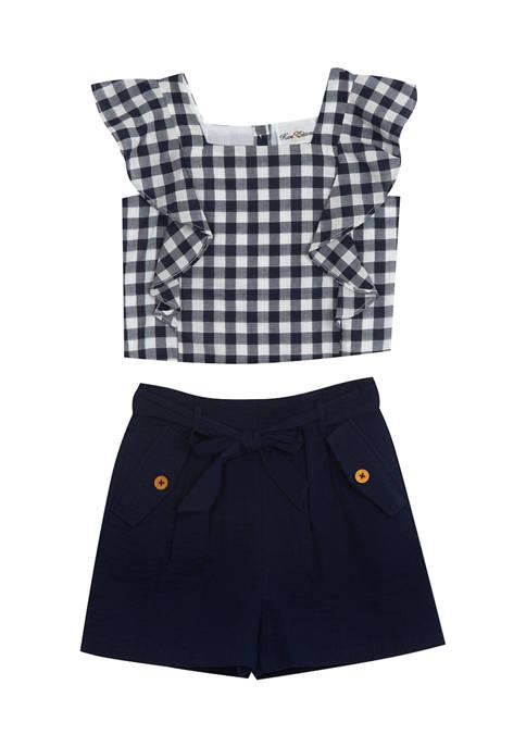 Girls 7-16 Flutter Sleeve Gingham Top and Seersucker Shorts Set