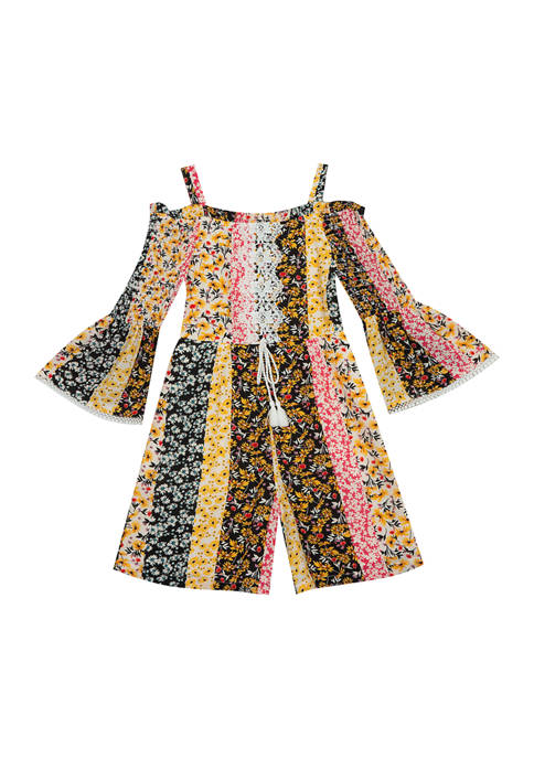 Counting Daisies Girls 7-16 Printed Woven Cold Shoulder