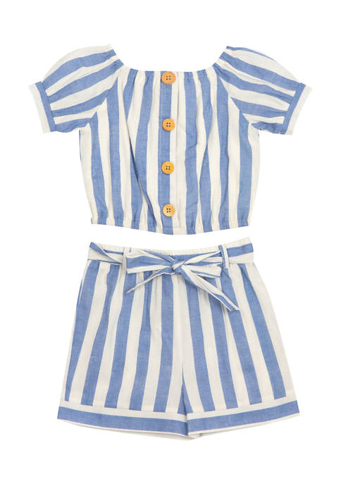 Counting Daisies Girls 7-16 Yarn Dyed Striped Button