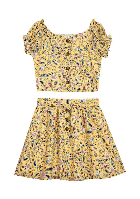 Counting Daisies Girls 7-16 Printed Woven Button Top