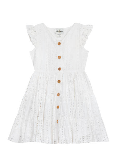 Counting Daisies Girls 7-16 Flutter Sleeve Eyelet Button