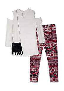 Cold Shoulder Top and Printed Leggings 2-Piece Set Girls 7-16