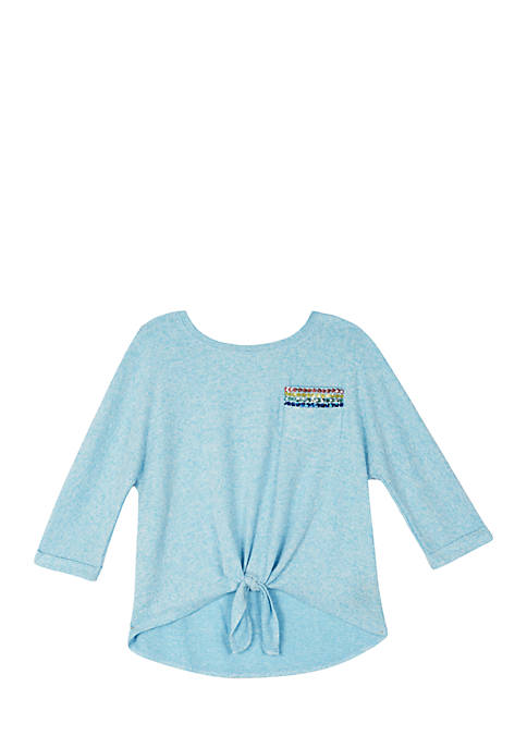 Girls 7-16 Fuzzy Solid Tie Front Top