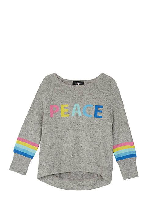Girls 7-16 Fuzzy Peace Stripe Top