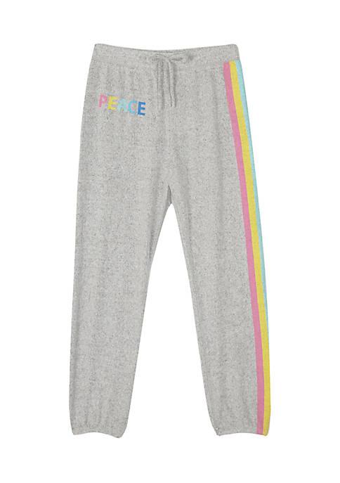 Amy Byer Girls 7-16 Fuzzy Rainbow Stripe Joggers