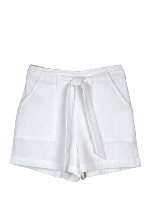 Amy Byer Girls 7-16 Off White Belted Twill