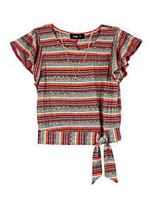 Amy Byer Girls 7-16 Short Sleeve Glitter Stripe Side Tie Top