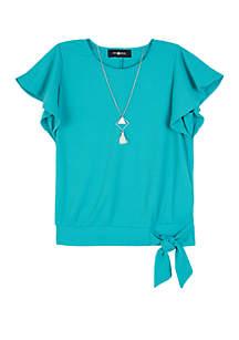 Amy Byer Girls 7-16 Short Sleeve Side Tie Top