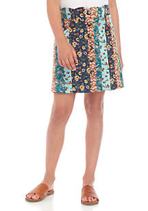 Amy Byer Girls 7-16 Mixed Print Corduroy Button Front Skirt
