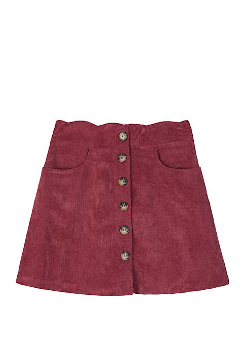 Amy Byer Girls 7-16 Wine Corduroy Button Front