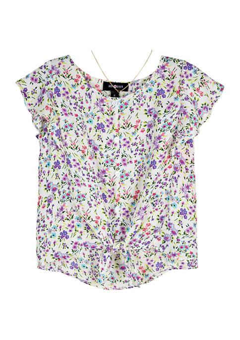 Amy Byer Girls 7-16 Printed Short Sleeve Top