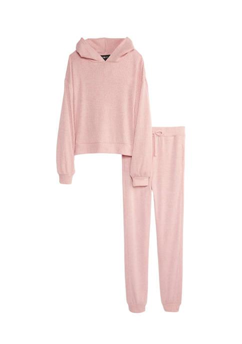 Girls 7-16 Knit Hooded Sweat Set