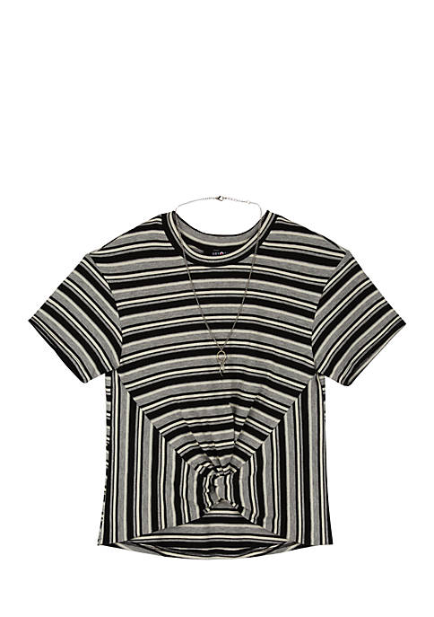 Amy Byer Girls 7-16 Lurex Stripe Short Sleeve
