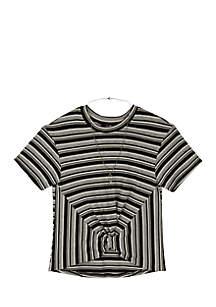 Girls 7-16 Lurex Stripe Short Sleeve Twist Front Top