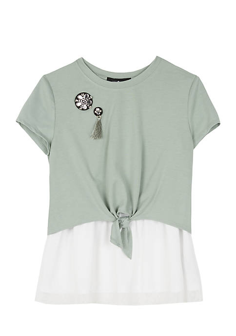 Amy Byer Girls 7-16 Short Sleeve French Terry