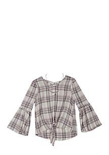 Girls 7-16 Lurex Plaid Bell Sleeve Top