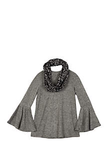 Girls 7-16 Fuzzy Bell Sleeve Scarf Top