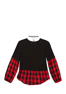Girls 7-16 Long Sleeve Fuzzy Knit and Woven Pullover