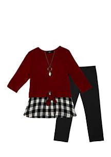 Girls 7-16 Black and White Check Tie Front Legging Set