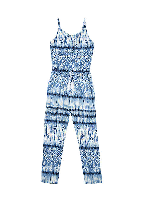 Amy Byer Girls 7-16 Tie Dye Blue Jumpsuit
