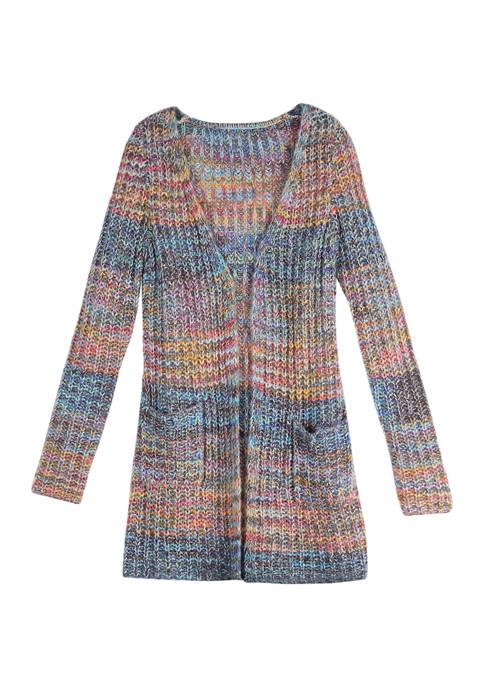 Amy Byer Girls 7-16 Long Sleeve Marled Cardigan