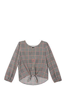 Amy Byer Girls 7-16 Glen Plaid Tie Front Blouse
