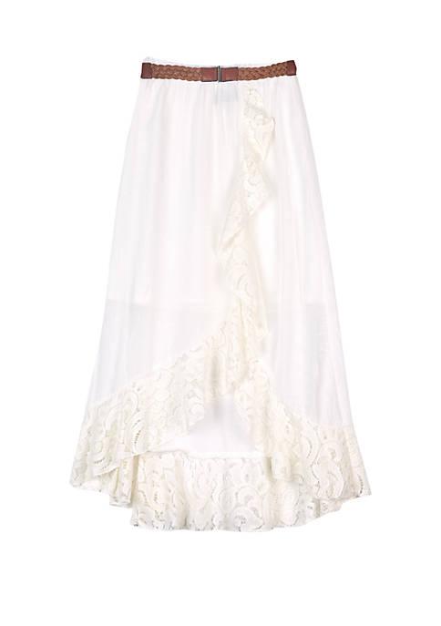 Girls 7-16 Ivory Belted Skirt