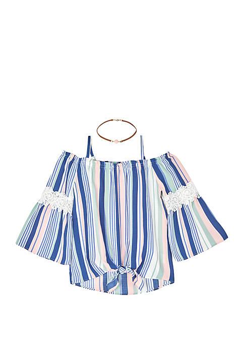 Amy Byer Girls 7-16 Stripe Print Tie Front
