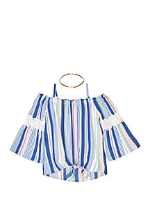 Amy Byer Girls 7-16 Stripe Print Tie Front Woven Shirt