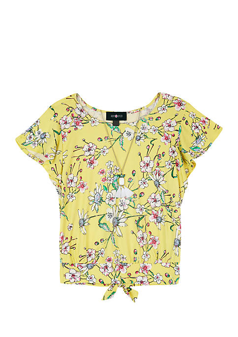 Amy Byer Girls 7-16 Yellow Floral Flutter Sleeve