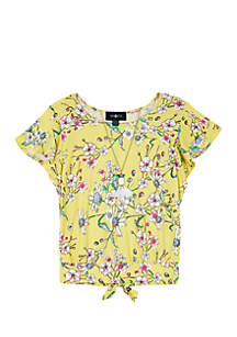 Amy Byer Girls 7-16 Yellow Floral Flutter Sleeve Back Tie Tee