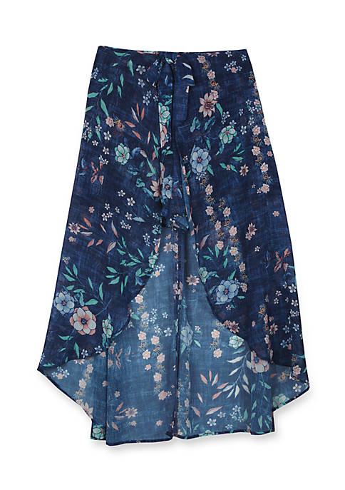 Amy Byer Floral High Low Skirt Girls 7-16