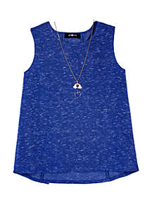 Amy Byer Girls 7-16 Solid Lace Up Back Necklace Tank